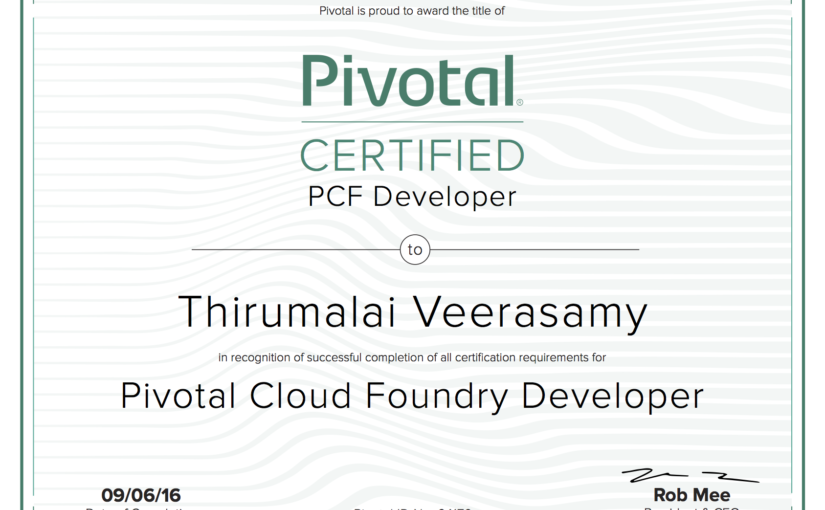 Pivotal Certified Pivotal Cloud Foundry Developer!