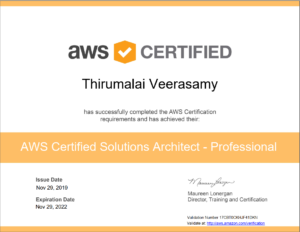 AWS Certified Solution Architect Professional - Thirumalai Veerasamy